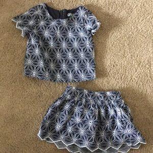 2 piece toddler girl set, top and skirt
